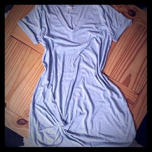 Tshirt dress with twist knot at the bottom